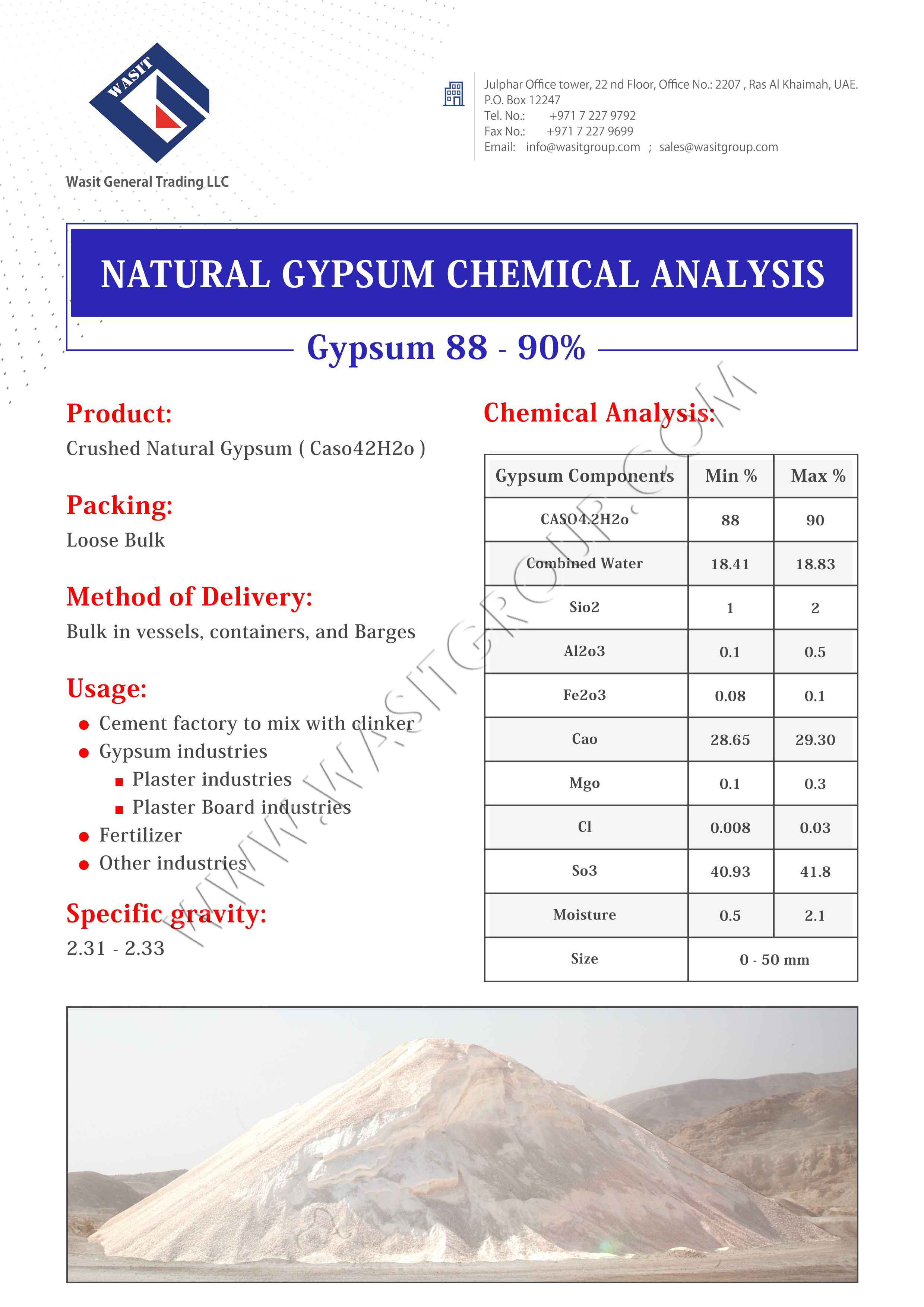 Uaes Best Gypsum Rock Mining Company Exporters Suppliers